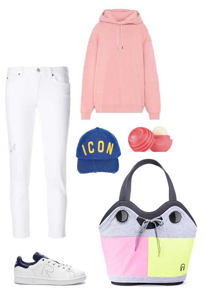 Come indossare pantaloni bianchi outfit sportivo